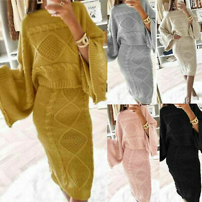 £19.99 • Buy Women Ladies Chunky Cable Knitted Loungewear Baggy Two Piece Top Skirt Suit Set
