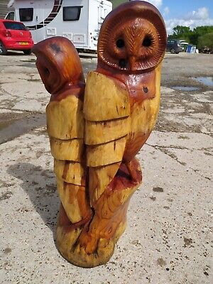 Sussex Chainsaw Carving Yew Owl  Wooden Garden Or Home  Sculpture Art Decoration • 300£