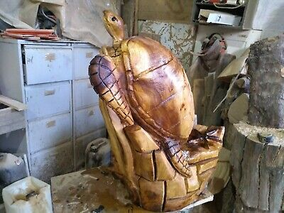 Great Christmas Gift Sussex Chainsaw Carving Turtle Wooden Garden  Sculpture Art • 230£
