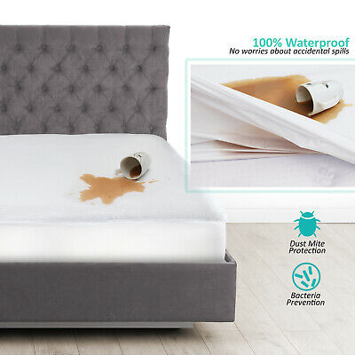 $ CDN24.04 • Buy Hypoallergenic Waterproof Mattress Protector Cotton Terry Fitted Mattress Cover