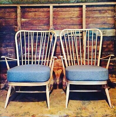 Pair Of Vintage Ercol 478 Windsor Armchairs Blonde Blue Label New Grey Cushions • 825£