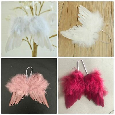 1-10pcs Vintage Feather Hanging Angel Wings Christmas Tree Wedding Decoration • 6.99£