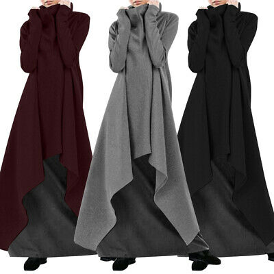 Womens Turtleneck Oversize Sweatshirt Dress Casual High Low Long Sweats Dresses • 11.97£