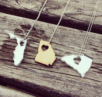 £21.73 • Buy Laser Cut State Necklaces