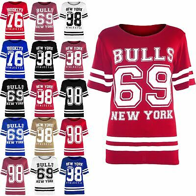 Plus Size Womens Varsity Baggy T Shirt Ladies Usa American Oversized Baggy Top • 7.99£