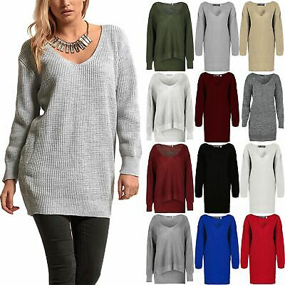 Womens V Neck Knitted Baggy Tunic Ladies Sweater Jumper Oversized Pullover Top • 10.49£