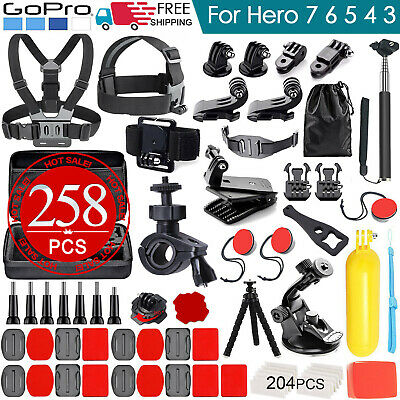 AU34.99 • Buy 258pcs Accessories Pack Case Chest Head Floating Monopod GoPro Hero 8 7 6 5 4 3