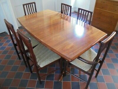 1970s 1980s Danish Skovby Figured Extending Dining Table Carvers And Chairs • 475£