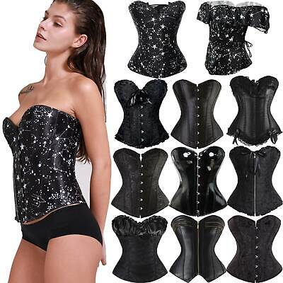 Black Sexy Steampunk Gothic Waist Trainer Boned Corset Basques Bustier Lingerie • 18.80£