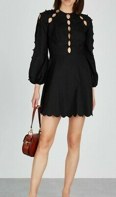 NEW Zimmermann Goldie Design V Neck Long Sleeve MINI Dress BLACK 0,1,2 • 253$