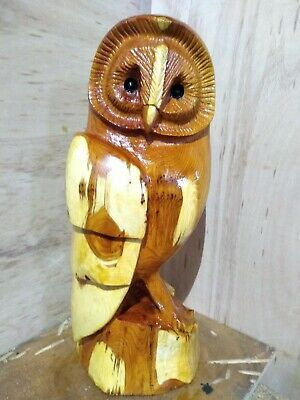Great Gift Idea Chainsaw Carving Yew Owl Wooden Garden Or Home Sculpture Art • 100£