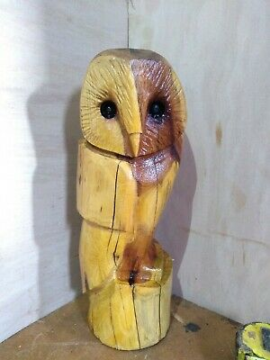 Great Christmas Gift Idea Chainsaw Carving Yew Owl Wooden Garden Sculpture • 45£