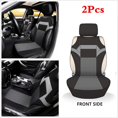 2 Black/Grey Front Vest T-Shirt Car Seat COvers Protector WIth Headrest Covers • 14.89£
