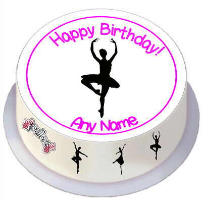 Ballet Silhouette Round Edible Cake Topper Personalised For 7 / 8 Inch Cake • 2.69£