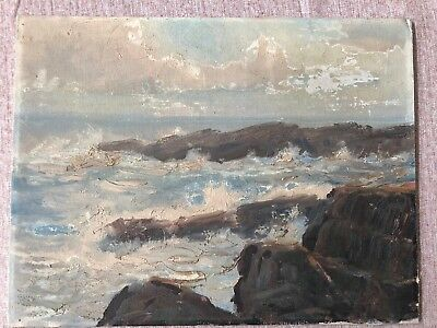 """$575 • Buy Oil Painting On Board Signed By Artist   Fred Pye """" Seascape Rocks Coastal Maine"""