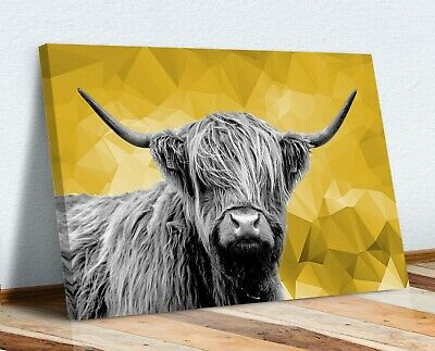 £12.99 • Buy Highland Cow Black And White Yellow Geo Back Canvas Wall Art Print Artwork