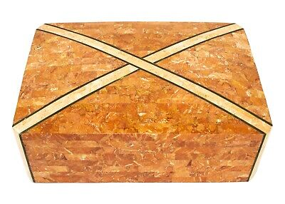 $999.99 • Buy Large Maitland Smith Marble Stone With Inlaid Brass Tessellated Box Mahogany Int