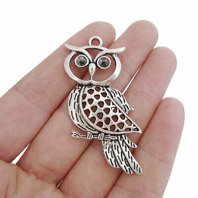 10 X Tibetan Silver Owl Bird Charms Pendants For Jewellery Making Findings • 3.29£