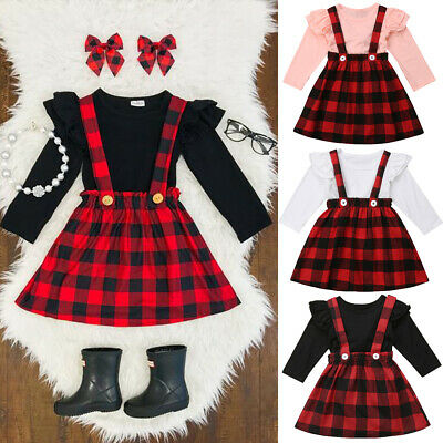 Baby Girls Plaid Dress Toddler Romper Newborn Infant Kids Clothes Outfits Top • 7.99£