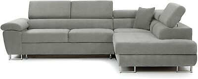 Sofa Anton- L Shape Corner Sofa Bed +Storage - Leather/Fabric - Black,White/Grey • 769£