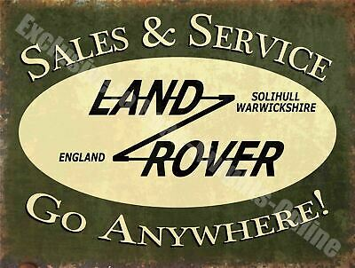 Land Rover Sales & Service, Go Anywhere Vintage Gar Metal/Steel Wall Sign • 6.29£