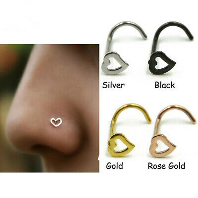 AU3.99 • Buy New 1 PC Heart Nose Stud L Shaped 20G Ring Screw Body Piercing Jewellery