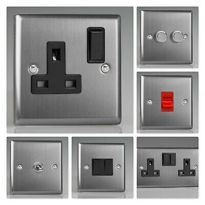 Varilight Classic Brushed Steel XTB Light Switch Socket Dimmer Toggle Cooker TV • 13.95£