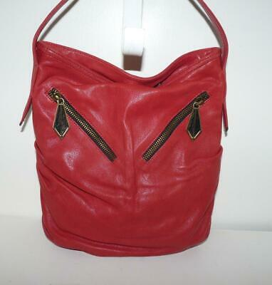 $44.99 • Buy Treesje Beautiful Red Leather Cinched Shoulder Bag Purse