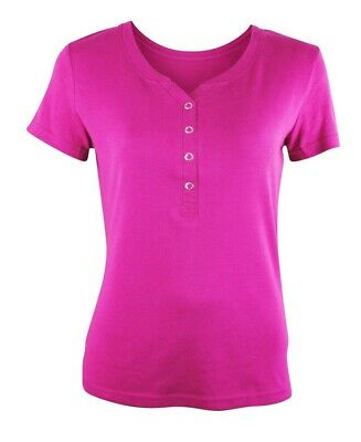 £4.97 • Buy Womens Maine Casual T-Shirt Top Y Neck Button Up Cerise Plus Size 6 To 22 Ladies