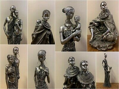 £21.99 • Buy Silver Effect Masai African Lady Man Family Figurine Tribal Gift Ornament Statue