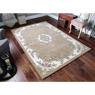 £149.99 • Buy  Aubusson Design Quality Rug Beige  Super Thick Hand Tufted 100% Wool RUG  25%OF