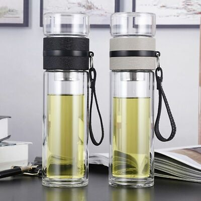 Double Wall Glass Water Bottles 500mL Portable Tea Drinking Tumbler With Infuser • 19.79£