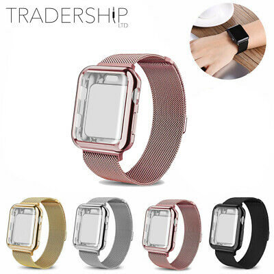 $ CDN17.62 • Buy Milanese Band Strap & Full Screen Protector Apple Watch 2/3/4 IWatch Case Cover