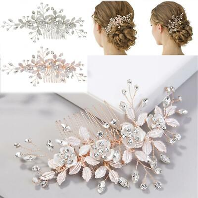 $ CDN9.73 • Buy Leaves Flower Crystal Hair Comb Wedding Hair Accessories Bride Hair Clip Jewelry
