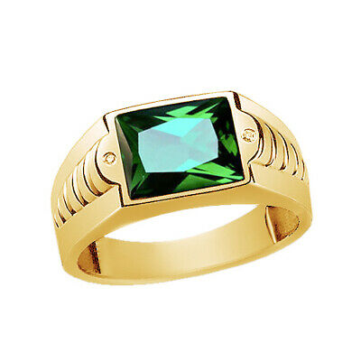 $606.26 • Buy Mens Ring Green Emerald In SOLID 10K Yellow Gold Gemstone With Diamond Accents