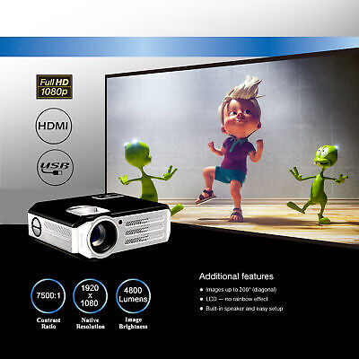 AU375.95 • Buy AU 1080P FULL HD Native Home Theater LED 4K Max 4000 Lumens HDMI Video Projector