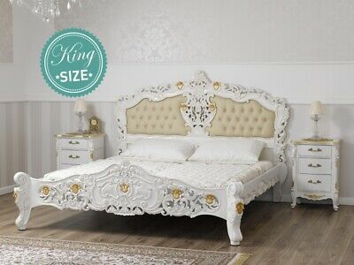 Super King Size Bed Frame Diamond Decape Rococo Style Ivory And Gold Leaf Faux L • 1,575.10£