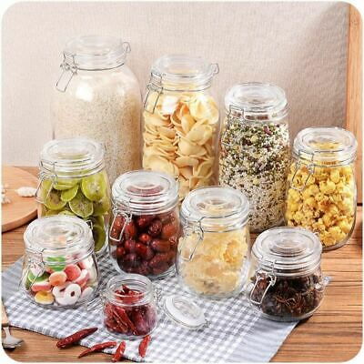 1 Pc Glass Storage Bottles Jars With Lid Large Capacity Honey Candy Kitchen Cont • 19.01£