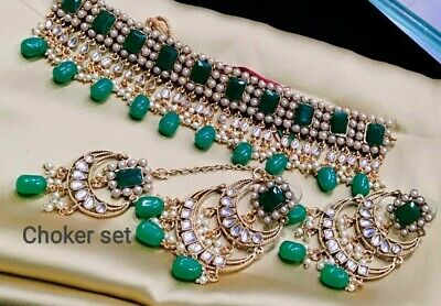 $26.99 • Buy Latest South Indian Green Choker Necklace Earring Set Bollywood Bridal Jewellery