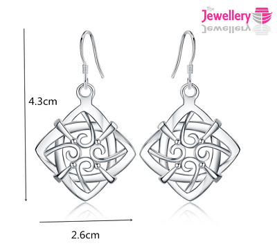 Silver Celtic Square Dangle Drop Earrings Jewellery Womens Ladies Gifts  • 3.69£