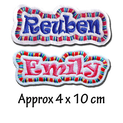 Personalised Embroidered Felt Patch Name Tag With Multicoloured Border • 3.80£