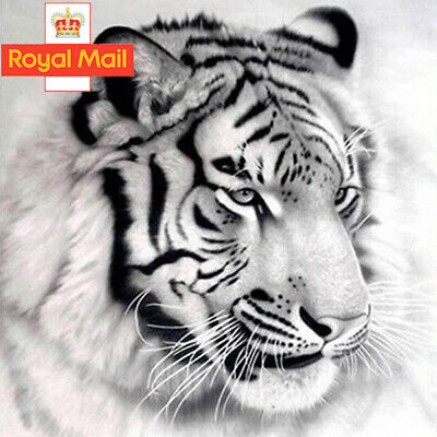 Pretty White Tiger 5D Diamond Painting Embroidery Cross Stitch Kit Decor Gifts T • 3.49£