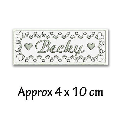 Personalised Embroidered Name Patch Tag Elegant Lace And Heart Design  4 X 10 Cm • 3.80£