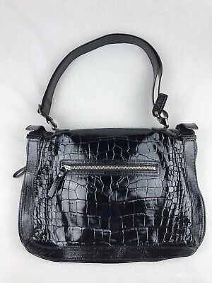 $ CDN95 • Buy DANIER Women's Black Crocodile Texture GENUINE LEATHER Shoulder Bag / Purse