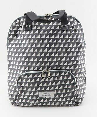 Ladies Women White And Grey Triangle Shape Print Oilcloth Backpack Rucksack • 38£