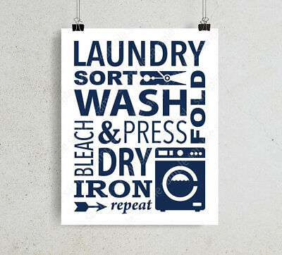 Laundry Room Sign Wash Dry Fold Wall Art Print, Poster For Washing Room Word Art • 5.99£