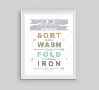 Sort Wash Iron Fold Laundry Room Sign Poster Wall Word Art Print Home Decor Gift • 4.99£