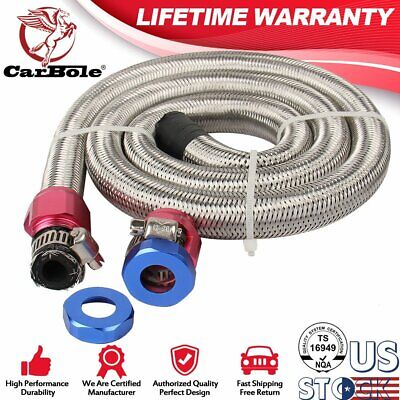$ CDN19.76 • Buy Stainless Steel Braid Fuel Oil Line Kit I.D. Hose Injected 2 Clamp 3/8  Hex Size