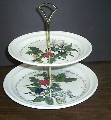 Portmeirion The Holly And Ivy 2 Tier Cake Stand / Tid Bit Stand Never Used       • 49.99$
