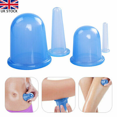 4pcs/set Silicone Anti Cellulite Massage Vacuum Cupping Body Facial Cups Therapy • 7.63£
